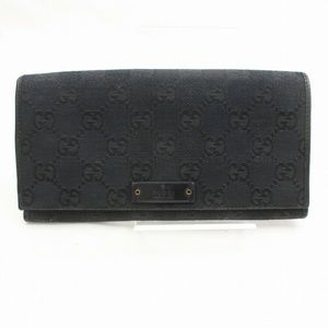 Auth Gucci Long Wallet Black Canvas #2361G44